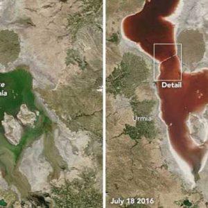 Иранското езеро Урмия  стана кърваво червено