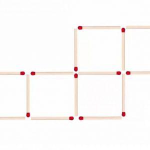 Можете ли да образувате 4 квадрата, като преместите само 2 клечки?